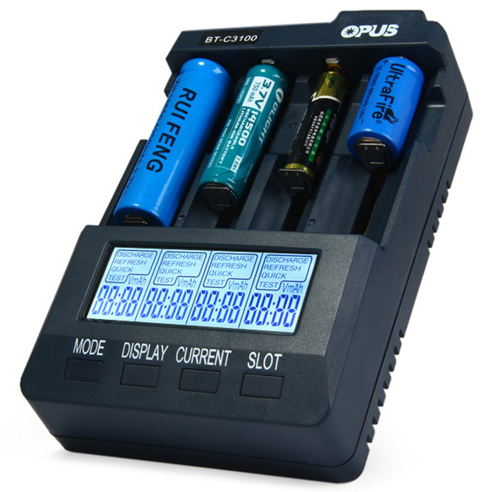 ФОТО Hot Selling Opus BT-C3100 V2.2 Digital Intelligent Four Slots Rechargeable LCD Screen Battery Charger With EU US Adapter