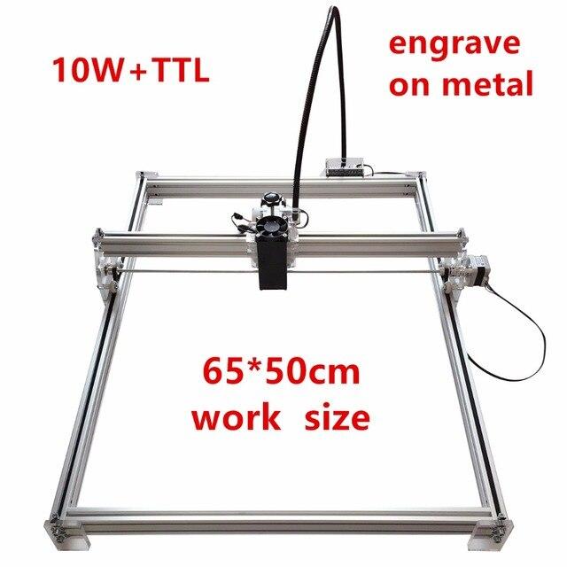 10 w מיני שולחן העבודה DIY לייזר חריטת חרט מכונת חיתוך חרט CNC הדפסת תמונה של 10000 mw 50X65 cm סימן לוגו על כלב תג