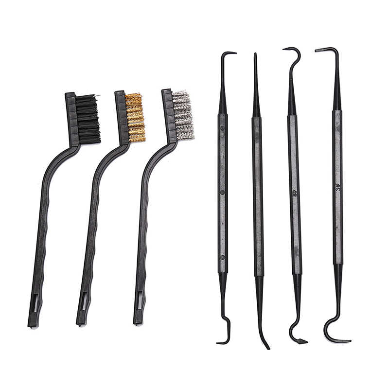 3 stks Staaldraad Borstel + 4 stks Nylon Pick Set Universal Hunting Gun Cleaning Kit Tactical Rifle Gun Cleaning tool