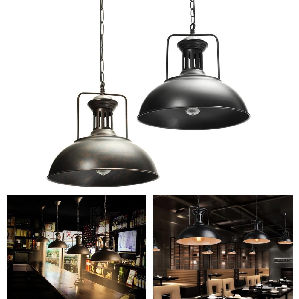 1pcs Ceiling lamp vintage retro industrial cafe ceiling light fixture lampshade home decor color: black rust