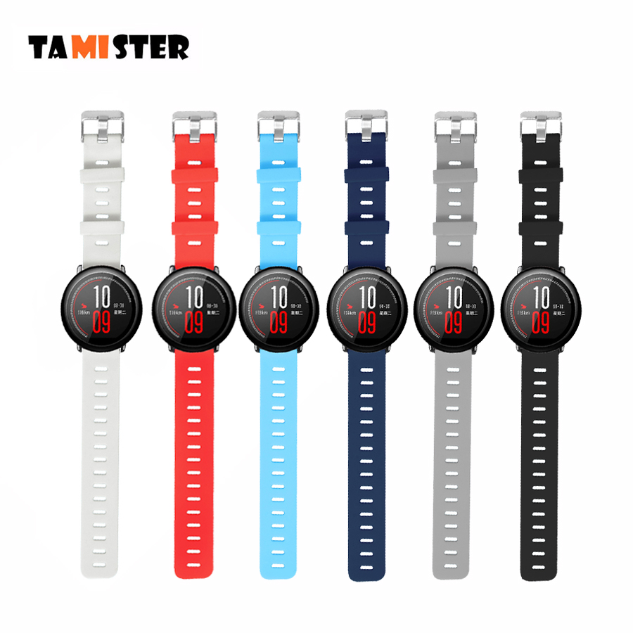 TAMISTER Smart Accessories for Amazfit Stratos 2S Strap 22mm Band for Xiaomi Watch 1 2 Amazfit Pace Pure Color Replacement BandTAMISTER Smart Accessories for Amazfit Stratos 2S Strap 22mm Band for Xiaomi Watch 1 2 Amazfit Pace Pure Color Replacement Band