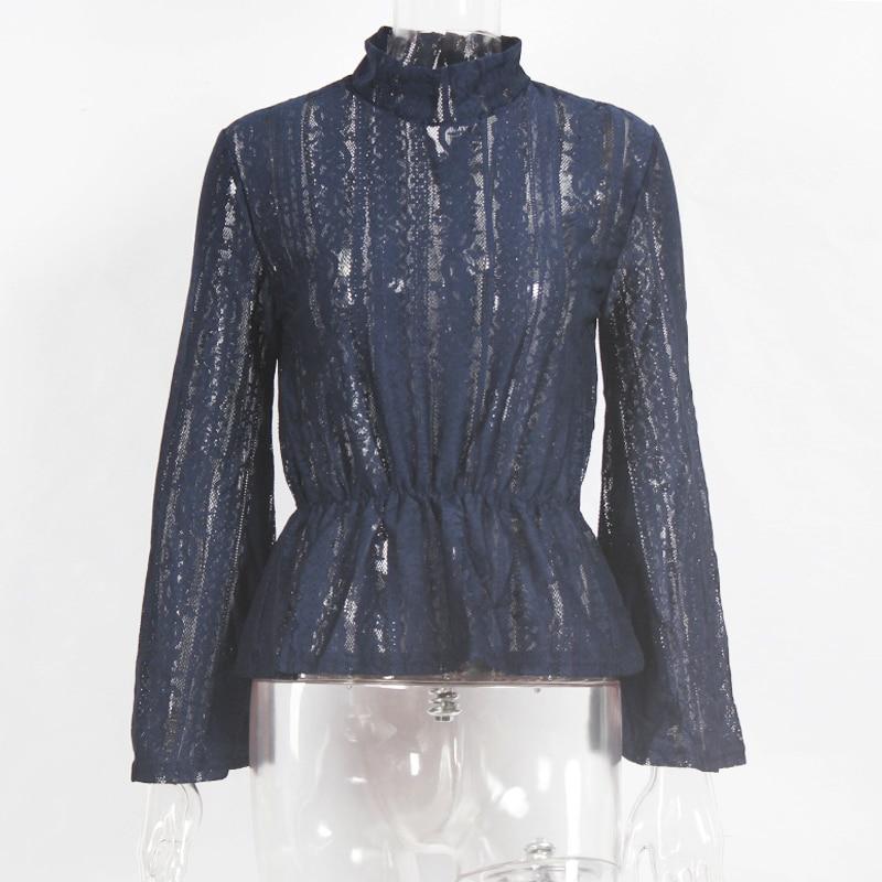 Aliexpress.com  Compre GUMPRUN 2018 Summer Women Sexy Lace Transparent  Blouse Shirt Elegant Flare Sleeve Long Sleeve Blouses Shirts Casual Chiffon  Tops de ... ef17c6006c5b7