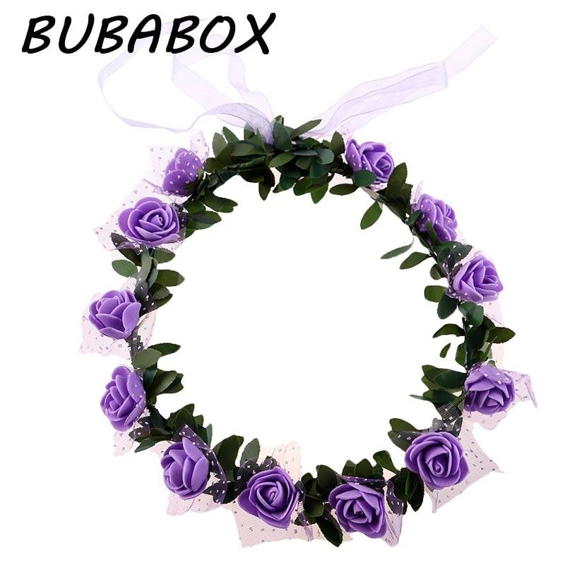 New Fashion Women Wedding Rose Flower Garland Headband Floral Garlands Hairband Flower Crown Hair Accessories