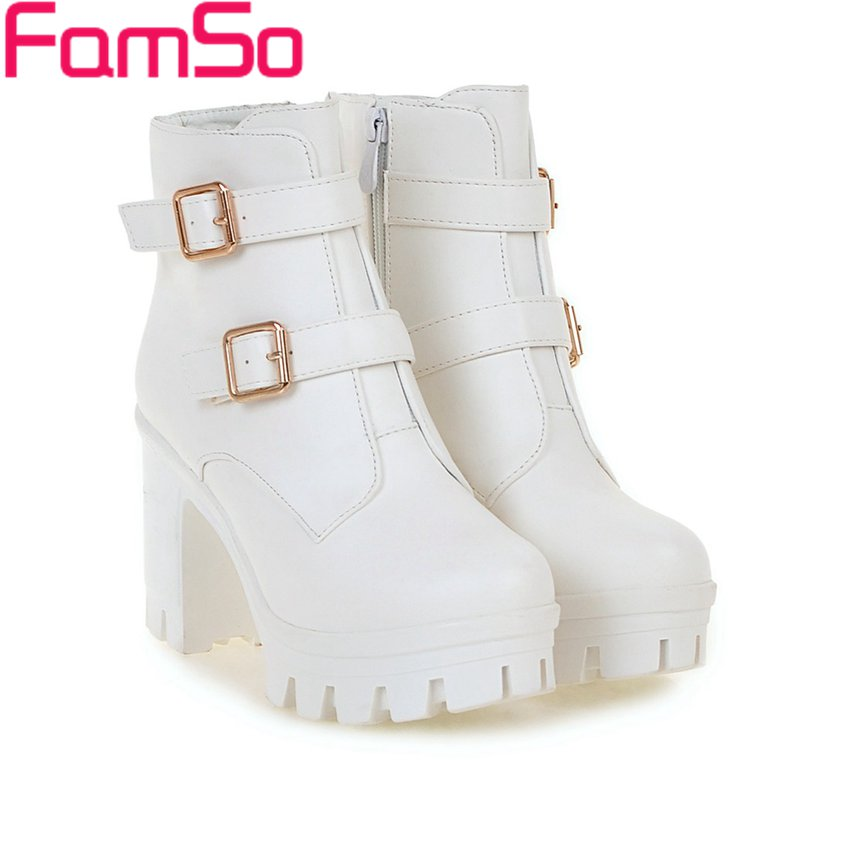 2016 New Sexy font b Women b font Boots Black White Buckle Platforms Boots Autumn High