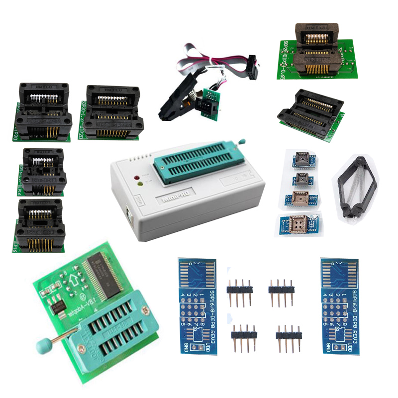 TL866II Plus Unviersal TL86CS/A Upgraded write usb programmatore with 10pcs socket with sop8 clip with 1.8 adapter+ PCB board
