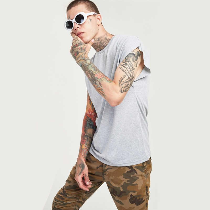 ... YOOZZE Men Sleeveless T Shirts Low Cut Tee Shirt Oversized Solid Blank  Raw Sleeves Drop Shoulder ... e71ae7ee9