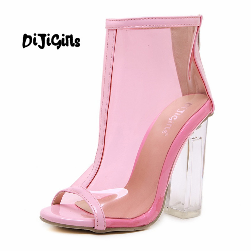 Pink White Women Summer PVC Clear Heel Transparent Boots Peep Toe Ankle Boots Bootie Block High Heel Pumps Sandals