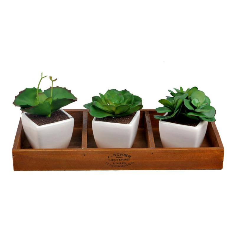 1pc Retro Wooden Box Succulent Container For Potted Plants Desktop Organizers Cosmetics Collection Flowers Pot #30