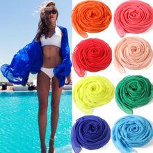 2016 Nuevas Mujeres de la Llegada Gasa Sexy Wrap Dress Sarong Pareo Beach Bikini Swimwear Cover Up Bufanda Vendedora Caliente