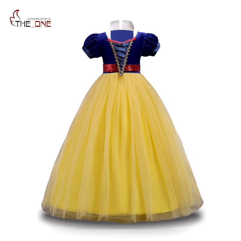 MUABABY Girls Snow White Princess Dress Puff Sleeve Deluxe Prom Party Teen Dress Children Layered Cosplay Costume for 4-14 Years teen titans starfire tamaran princess cosplay costume f006