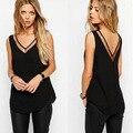 Blusas Hot Sale Body 2016 Europe New Ladies Chiffon Shirt Size V Mesh Stitching Backless Sleeveless Collar Patchwork Wholesale