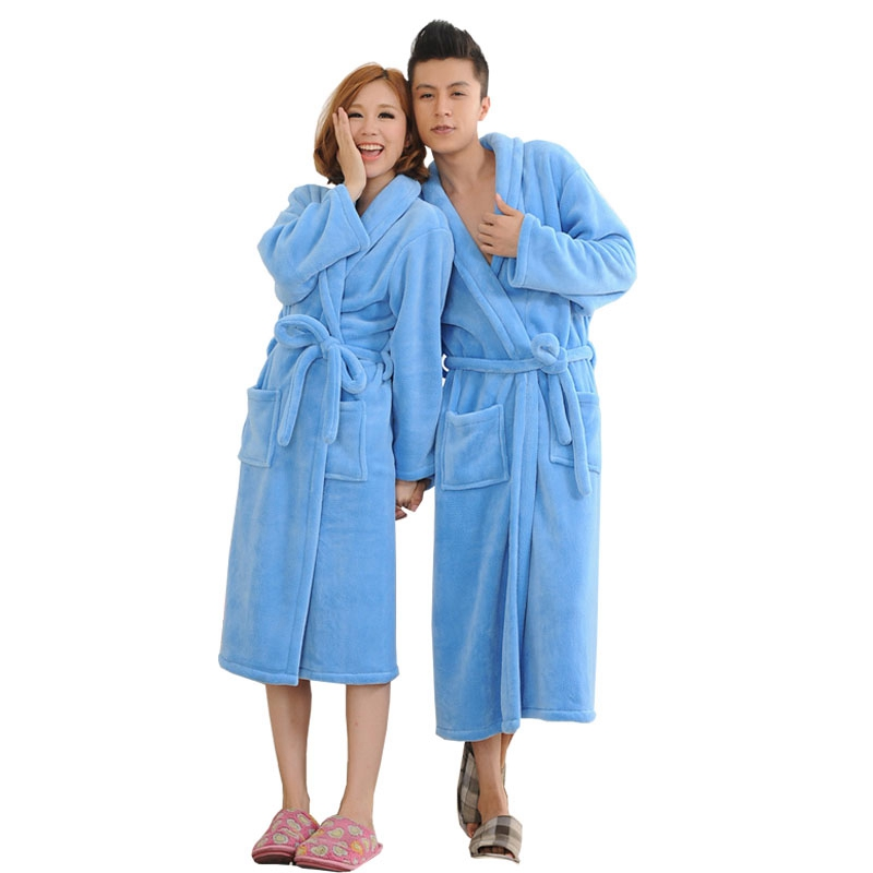 Autumn Winter Solid Couple Bathrobe Thicken Warm Flannel Bath Robes Plush Sleepwear Women Men Female Robe Nightgown M-2XL