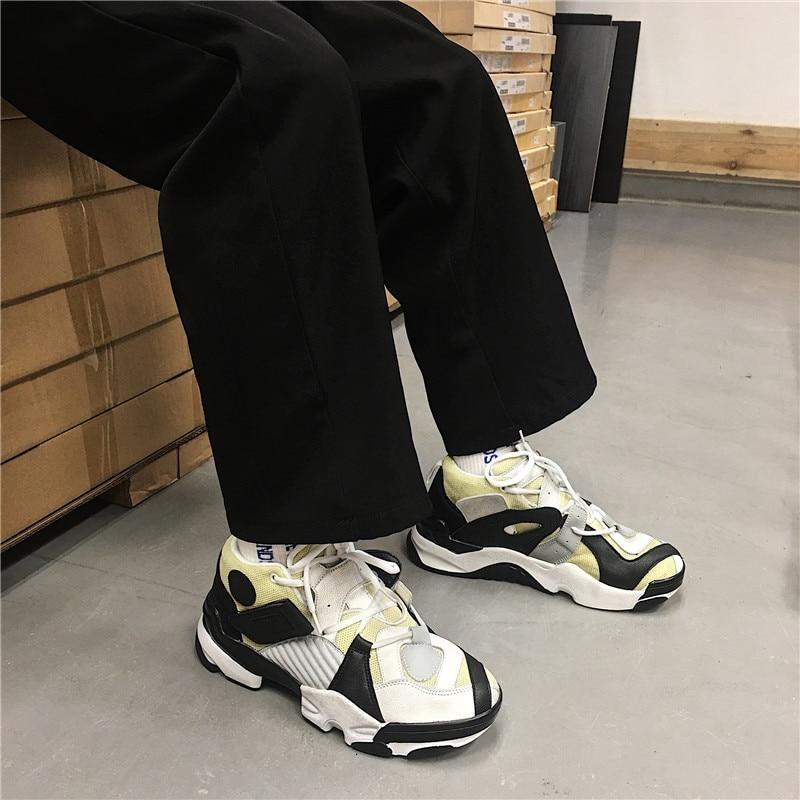 Hop Mujer Hip Femme Femmes blanc Chaussures Lacets Chunky Zapatos Dadly Sneakers jaune forme Mode À bleu Panier Noir Plate De Formateurs IqSxtwxa