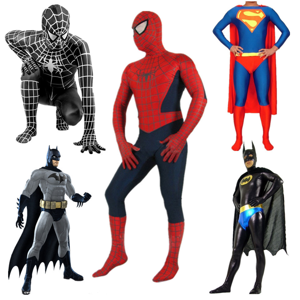 high quality mens superhero costumes spidermandeadpoolsuperman cosplay costume adultkids zentai spandex lycra bodysuit xxs 6x in anime costumes from
