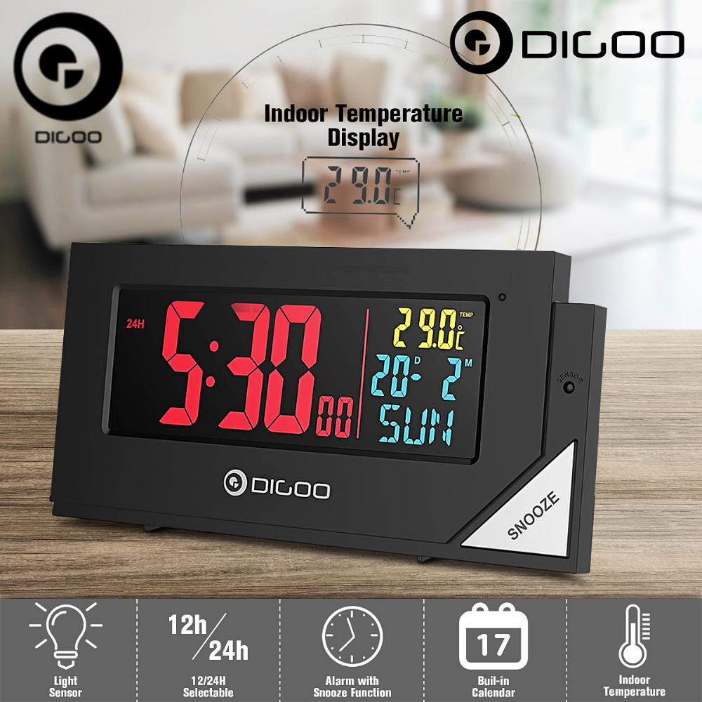 US $14.99 50% OFF|Digoo DG C8 Wireless Full Color Digital Clear Backlight  Electronical Desk Bedroom Alarm Clock with Light Sensor-in Temperature ...
