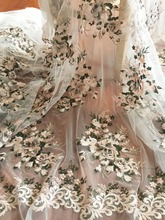 3D pearl beaded flower lace fabric with pink and green flower, flroal embroidery for wedding gown haute couture