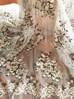 3D pearl beaded flower lace fabric with pink and green flower, flroal embroidery lace fabric for wedding gown haute couture
