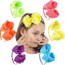 Children Neon Grosgrain Ribbon Hairband Boutique Layers Bow Headband Hair Band For Toddler Girl Hair Accessories