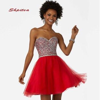 5adcbe9d6 Rojo corto vestidos de fiesta vestidos fiesta Junior lindo 8th grado graduación  vestidos mezuniyet elbiseleri