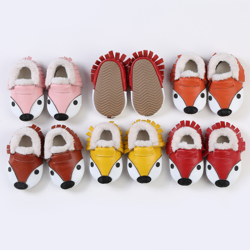 b840500723c40 US $780.0 |Genuine Leather First Walkers Cartoon Fox Baby Moccasins Baby  Shoes winter Thickening with Fur newborn non slip boys girls shoes-in First  ...