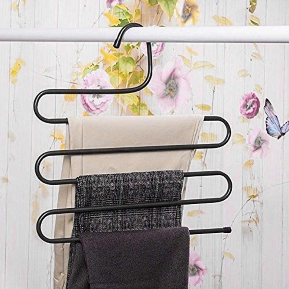 Multifunctionele Metalen Magische Broek Hanger Space Saver Rack Jeans Sjaal Tie Closet Tool Verwijder Broek Snel En Efficiënt