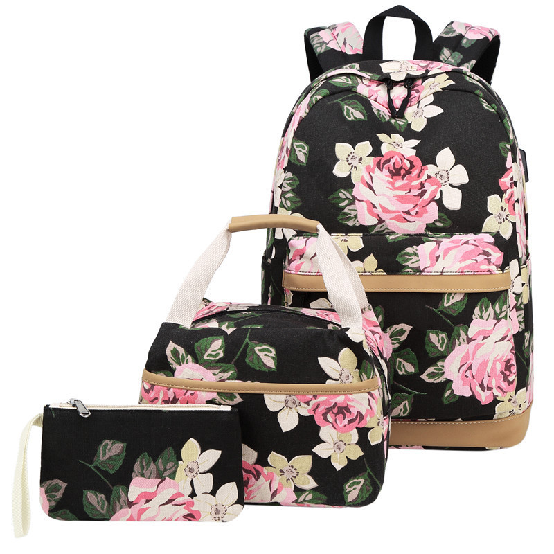 USB Charge Women Backpack 3pcs/set Fashion Printing School Bag Teenager Girls Handbag Backpack Mochila Sac A DosUSB Charge Women Backpack 3pcs/set Fashion Printing School Bag Teenager Girls Handbag Backpack Mochila Sac A Dos
