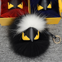 Real fur monster keychain charms karlito raccoon keychains Fluffy perfect personality backpack PomPom bag pendant xgs002