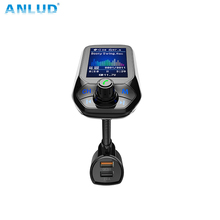 ANLUD FM Transmitter Bluetooth Car Kit MP3 Player Color LCD Wireless Quick Charge 3.0 Dual USB Aux Modulator