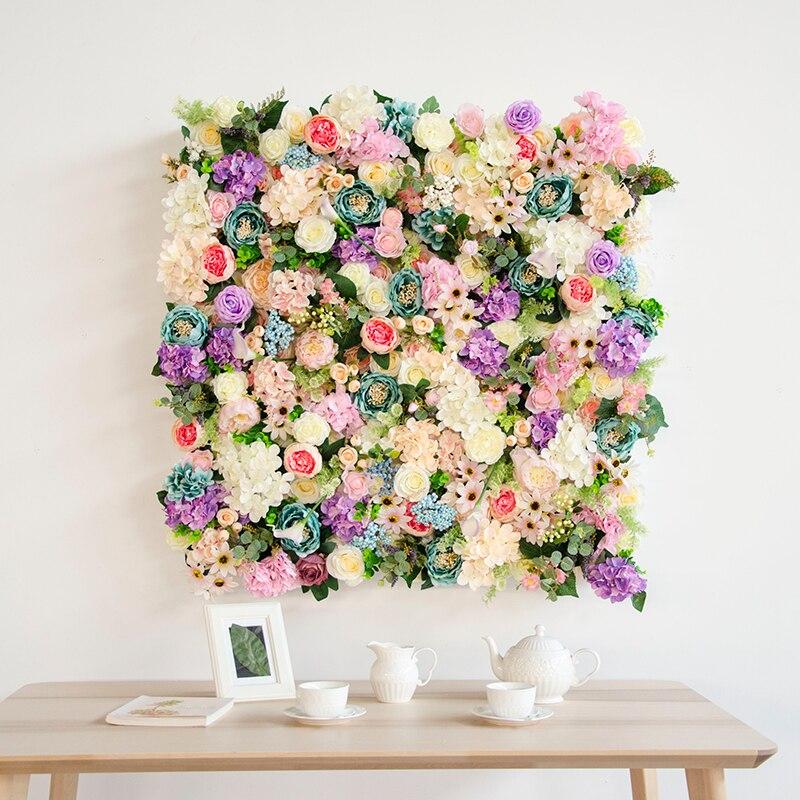 1 m * 1 m fiore artificiale fiore di nozze sfondo decorazione della parete di seta rosa Peonia ortensia tulipano della miscela pianta fiori di simulazione fila-in Fiori secchi e artificiali da Casa e giardino su  Gruppo 2
