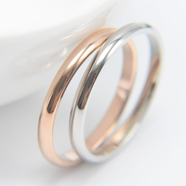 Titanium Steel Rose Gold Anti-allergy Smooth Simple Wedding Couples Rings Bijout