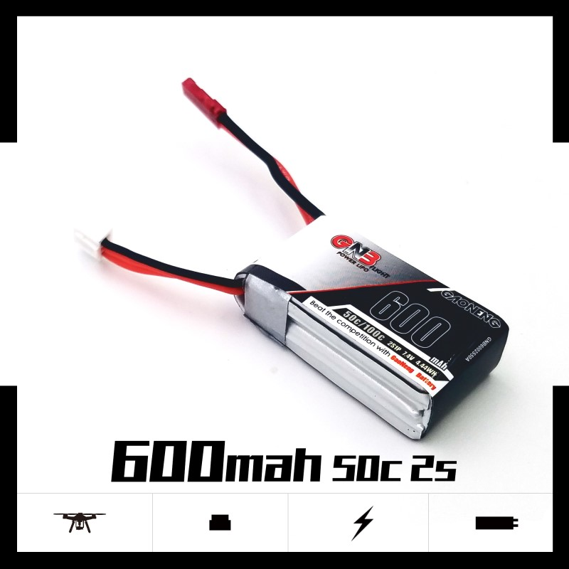 2PCS Gaoneng <font><b>600mAh</b></font> 2S <font><b>7.4V</b></font> 50C/100C <font><b>Lipo</b></font> <font><b>battery</b></font> with JST/XT30 Plug for DYS FPV Racing Drone 4 axis RC Quadcopter RC Parts image