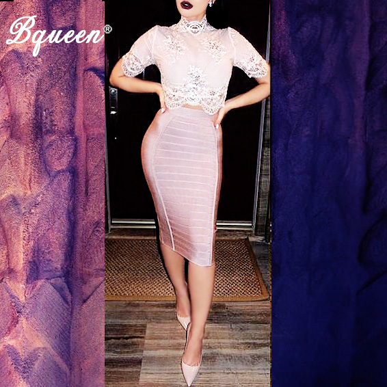 Bqueen 2017 New Women Bandage Kjol Elastic Stripe Officiell Bodycon Kjol Grossist