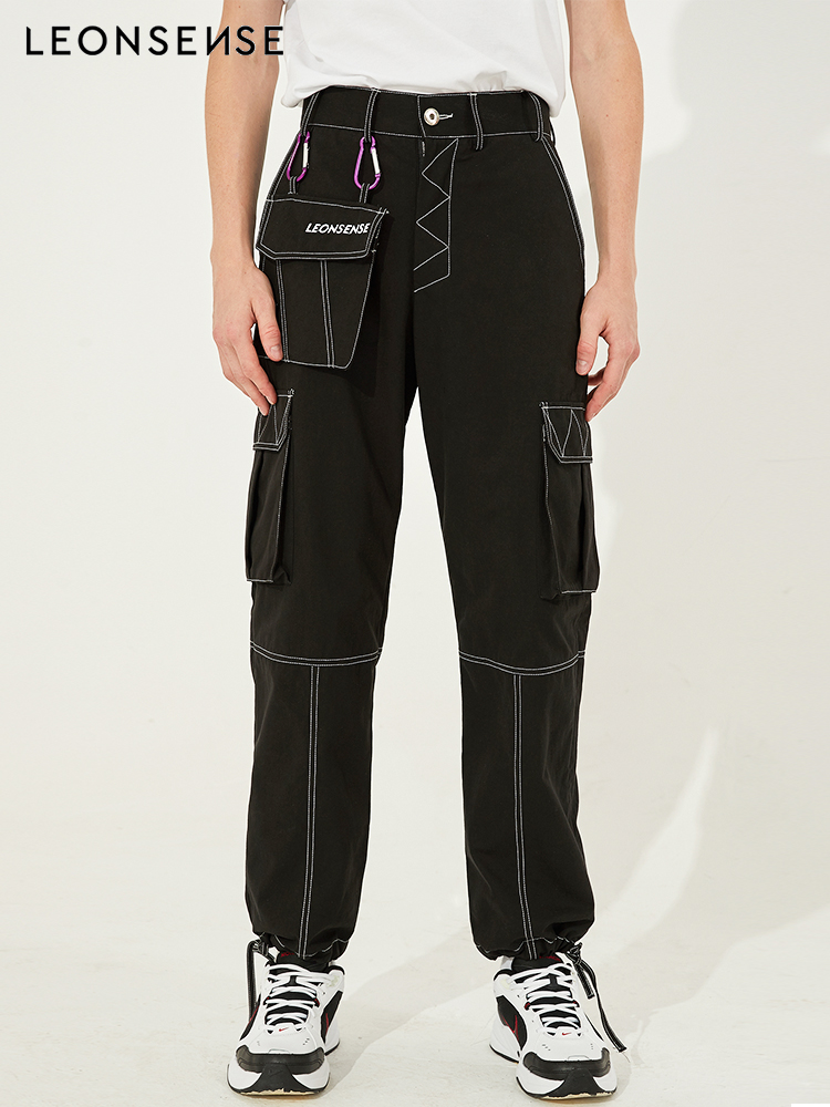 Leonsense 2018 Nouvelle Marque Hommes mode Broderie marque LOGO pantalon Cargo Multi-poches Baggy Hommes Pantalon Occasionnels Pantalon Salopette