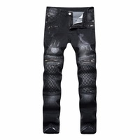 Uomini Jeans Stretch Strappato I Pantaloni di Modo di Disegno Skinny Jeans biker Per uomini Jogger pantaloni Più Il Formato 42 Heavy metal rock Jeans Neri