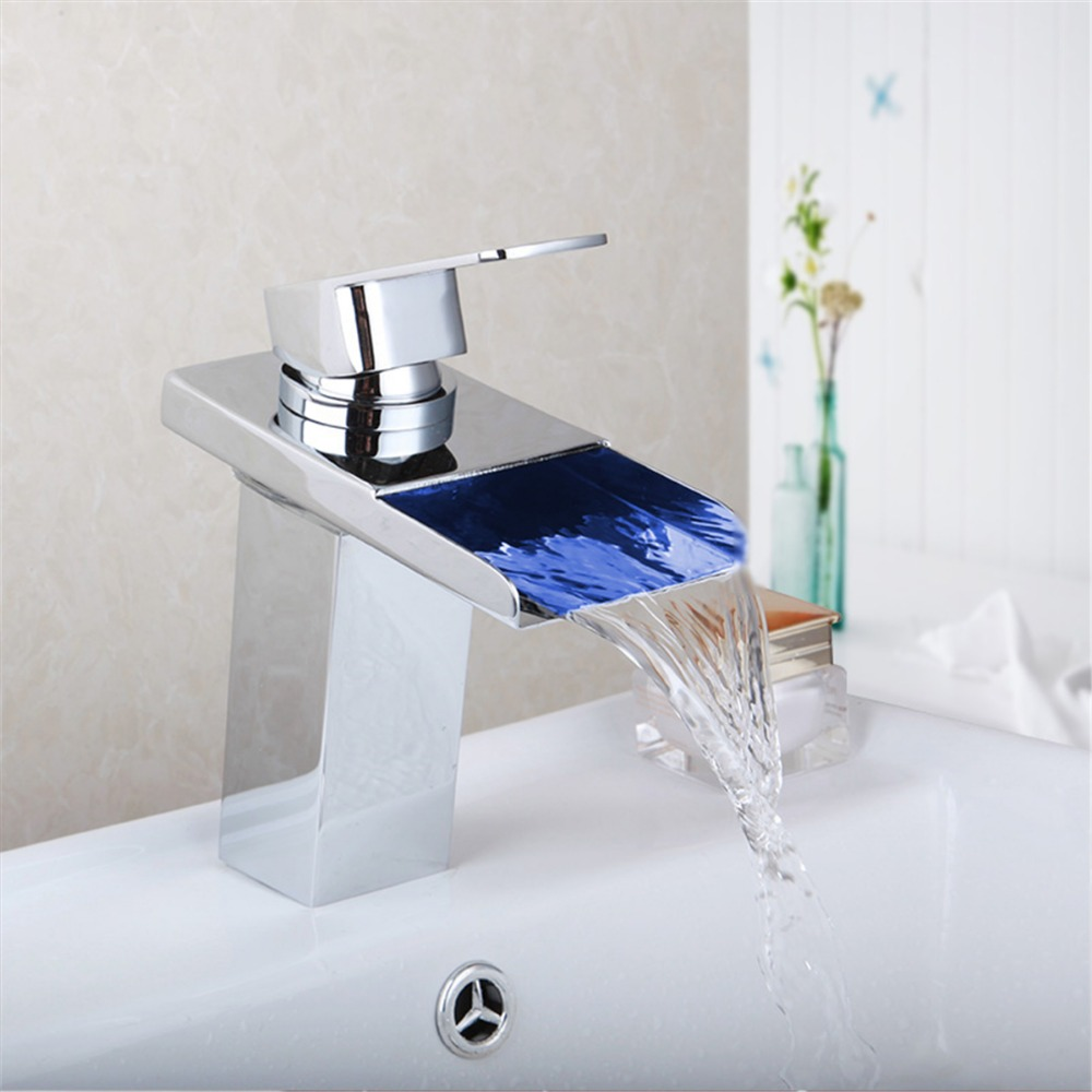 Best Led Bathroom Faucet Brass Chromed Waterfall Bathroom Basin Faucets Colors Led Tap Water Basin led Mixer Led Faucet newly art bathroom basin faucet brass mixer tap chromed polsihed big waterfall faucets freeshipping 612c