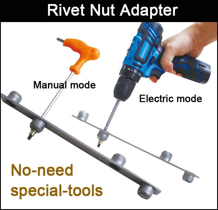 Electric Rivet Nut Gun Riveting Tool Cordless Riveting Drill Adaptor Insert Nut Tool Riveting Drill Adapter