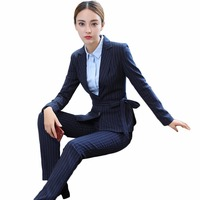S 4XL Female Blazer With Trousers Two Piece Set 2017 New Women Business Trouser Suits Black