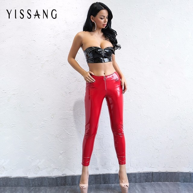37051f5fdad9e Yissang Skinny PU Leather Pencil Pants Sexy Front Zipper Trousers Ladies  Leggings Slim Faux Leather Autumn