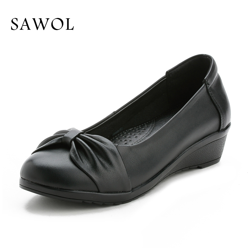 Women Pumps Genuine Leather Brand Women Shoes Shallow Soft Female Casual Shoes Women Sneakers Spring Autumn Round Toe Sawol asumer white spring autumn women shoes round toe ladies genuine leather flats shoes casual sneakers single shoes