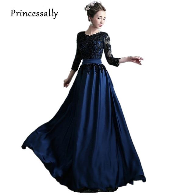 Vestidos de noche azul con negro