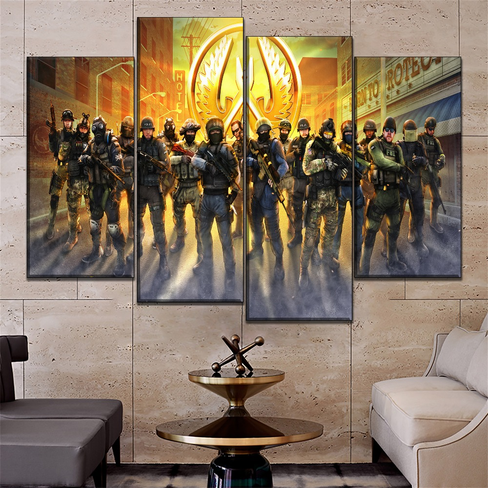 1 Pieces Games Canvas Painting Decoration Living Room Modern HD Print Counter Strike Global Offensive Guardians Wall Picture in Painting Calligraphy from Home Garden