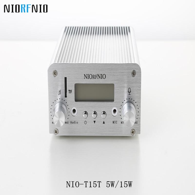 Δωρεάν αποστολή Χονδρικό NIO-T15T 5W / 15W ασύρματο πομπό ήχου και δέκτη FM ραδιόφωνο ραδιοεκπομπής 87 ~ 108 MHz ρυθμιζόμενο