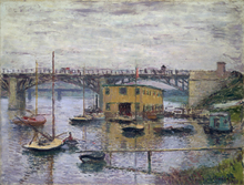 Painting by Claude Monet The Bridge at Argenteuil on a gray day For home decor oil Canvas High quality Reproduction Suppliers