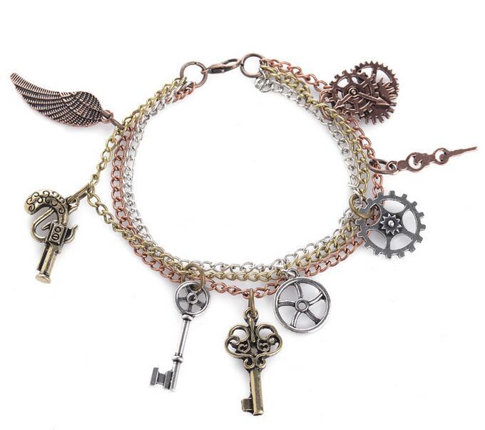 Éléments populaires ailes clés geras mode charmes steampunk mechancal bracelet bijoux