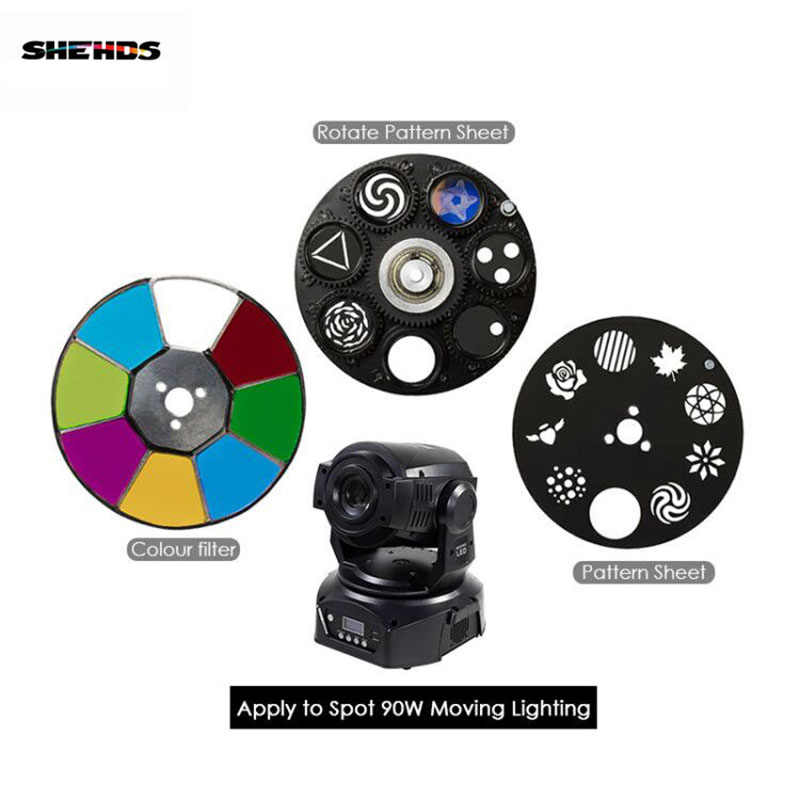 SHEHDS Светодиодный прожектор 90 Вт светодиодный движущийся головной свет части колеса Цвет & Gobo колесо шаблонный Лист Аксессуары для диджей ktv Дискотека точечная лампа