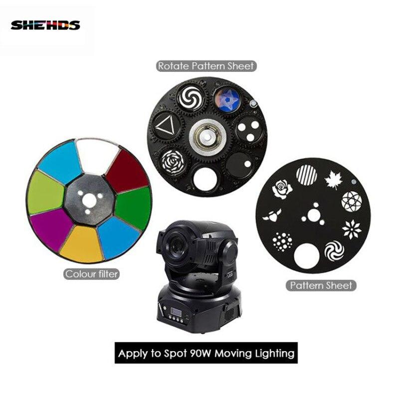 SHEHDS LED Spot 90W LED Moving Head Lichter Teile Rad Farbe & Gobo Rad Muster Blatt Zubehör für DJ KTV Disco Spot Lampe