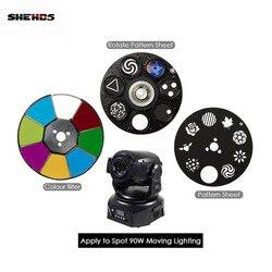 Shehds led ponto 90 w led movendo a cabeça luzes peças roda cor & gobo roda padrão folha acessórios para dj ktv disco lâmpada ponto