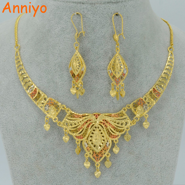 Anniyo Dubai Jewelry sets Gold Color Necklace Earrings Middle East