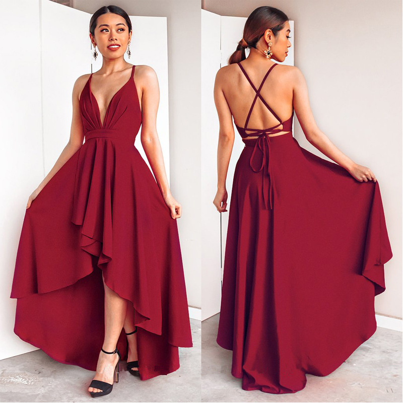 Burgundy Dress For Wedding Party Elegant A Line Deep V Neck Spaghetti Strap High Low Sexy Bridesmaid Dresses With Cross Back(China)