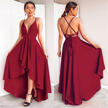 Burgundy Dress For Wedding Party Elegant A Line Deep V Neck Spaghetti Strap High Low Sexy Bridesmaid Dresses With Cross Back